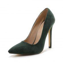 Pointed Toe Slip on Suede High Heels