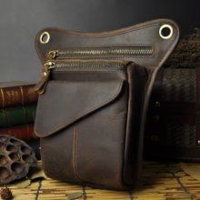Genuine Real Leather Small Belt Messenger Waist Bag