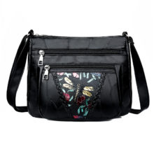Genuine Leather Dragonfly Print Shoulder Bag